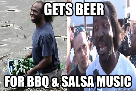 Gets Beer For BBQ & Salsa Music