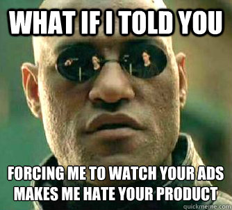 What if I told you forcing me to watch your ads makes me hate your product - What if I told you forcing me to watch your ads makes me hate your product  What if I told you