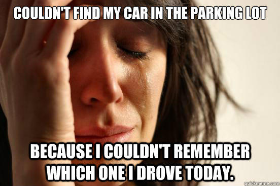 Couldn't find my car in the parking lot Because I couldn't remember which one I drove today. - Couldn't find my car in the parking lot Because I couldn't remember which one I drove today.  First World Problems
