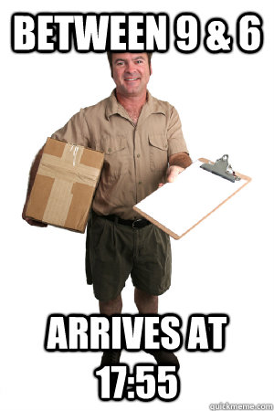 Between 9 & 6 arrives at 17:55 - Between 9 & 6 arrives at 17:55  Misc