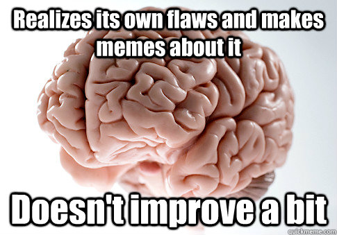 Realizes its own flaws and makes memes about it Doesn't improve a bit  - Realizes its own flaws and makes memes about it Doesn't improve a bit   Scumbag Brain