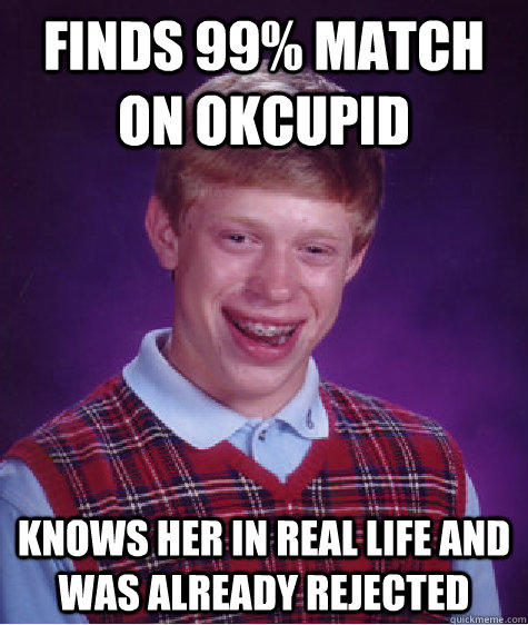 Finds 99% match on Okcupid Knows her in real life and was already rejected - Finds 99% match on Okcupid Knows her in real life and was already rejected  Bad Luck Brian