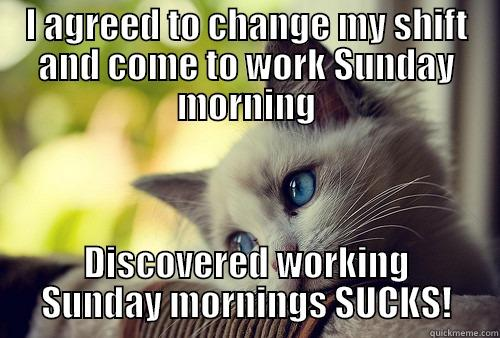I AGREED TO CHANGE MY SHIFT AND COME TO WORK SUNDAY MORNING DISCOVERED WORKING SUNDAY MORNINGS SUCKS! First World Problems Cat