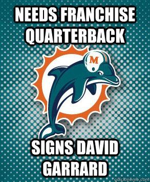needs franchise quarterback signs david garrard  Miami Dolphins David Garrard