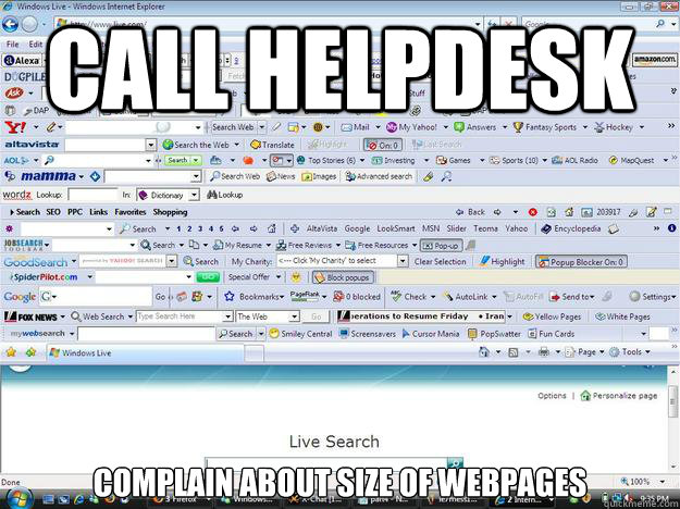 Call Helpdesk Complain about size of webpages