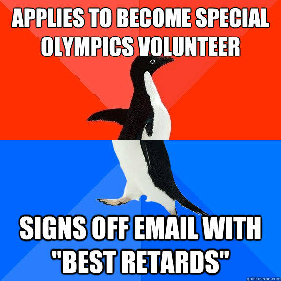 applies to become special olympics volunteer signs off email with