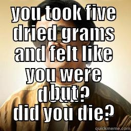 YOU TOOK FIVE DRIED GRAMS AND FELT LIKE YOU WERE DEAD? BUT DID YOU DIE? Mr Chow