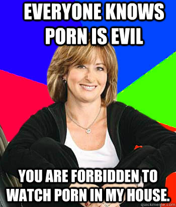 Everyone knows porn is evil you are forbidden to watch porn in my house. - Everyone knows porn is evil you are forbidden to watch porn in my house.  Sheltering Suburban Mom