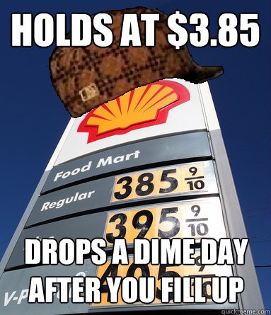 Holds at $3.85 Drops a dime day after you fill up