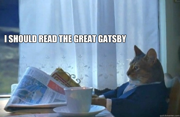 I should read The Great Gatsby  - I should read The Great Gatsby   Sophisticated Cat