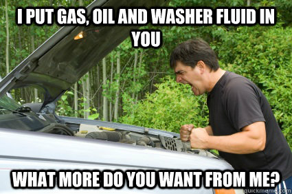 I put gas, oil and washer fluid in you what more do you want from me? - I put gas, oil and washer fluid in you what more do you want from me?  my fucking car