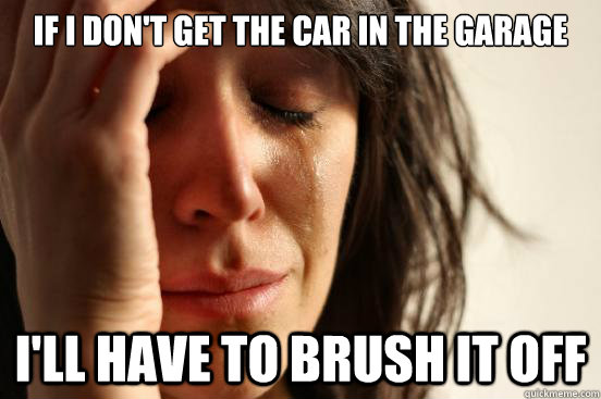 If I don't get the car in the garage I'll have to brush it off - If I don't get the car in the garage I'll have to brush it off  First World Problems