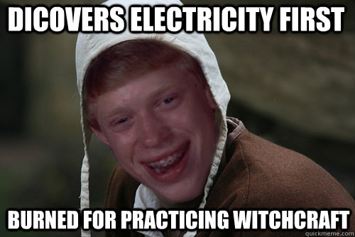 dicovers electricity first burned for practicing witchcraft