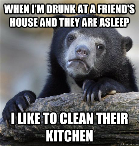 when i'm drunk at a friend's house and they are asleep i like to clean their kitchen - when i'm drunk at a friend's house and they are asleep i like to clean their kitchen  confessionbear
