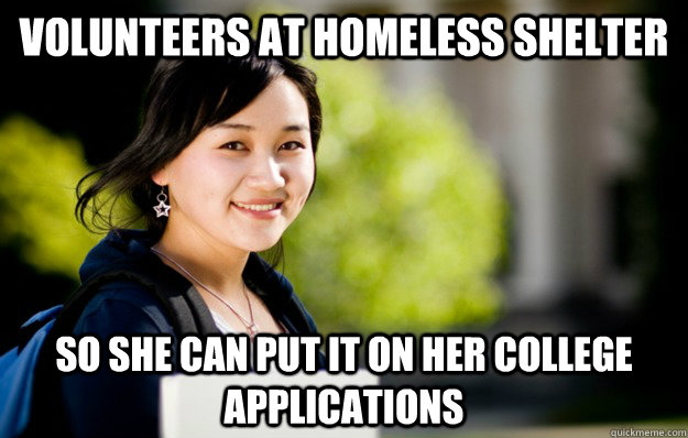 Volunteers at homeless shelter So she can put it on her college applications  studious asian girl