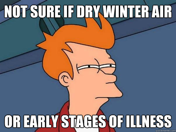 Not sure if dry winter air Or early stages of illness - Not sure if dry winter air Or early stages of illness  Futurama Fry