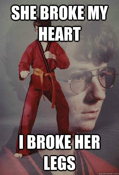 she broke my heart I broke her legs
