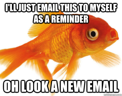 I'll just email this to myself as a reminder oh look a new email