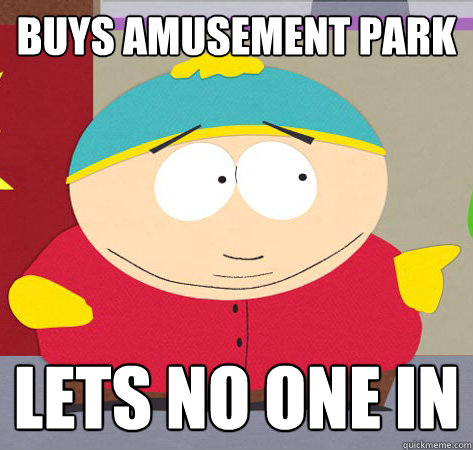 Buys amusement park lets no one in