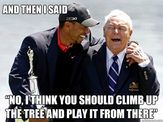 "And then i said  ""No, I think you should climb up the tree and play it from there""  - And then i said  ""No, I think you should climb up the tree and play it from there""   Tiger and Arnie"