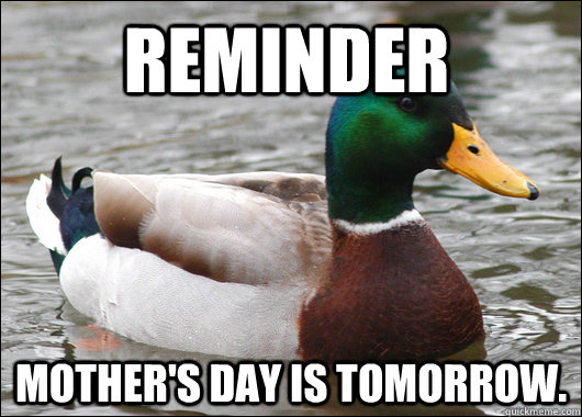reminder mother's day is tomorrow.  - reminder mother's day is tomorrow.   Actual Advice Mallard