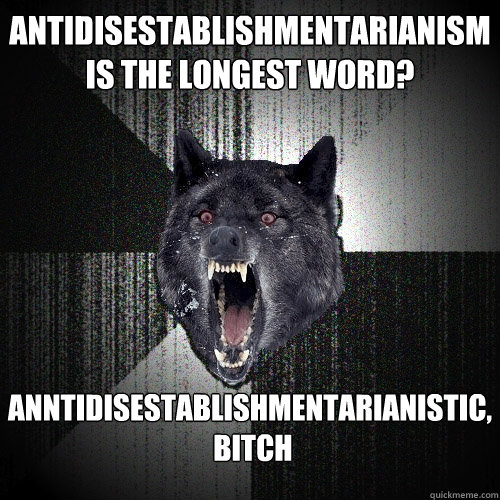 antidisestablishmentarianism is the longest word? Anntidisestablishmentarianistic,  bitch - antidisestablishmentarianism is the longest word? Anntidisestablishmentarianistic,  bitch  Insanity Wolf
