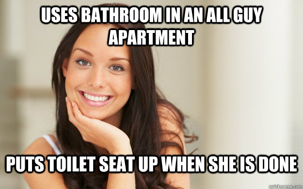 uses bathroom in an all guy apartment puts toilet seat up when she is done - uses bathroom in an all guy apartment puts toilet seat up when she is done  Good Girl Gina