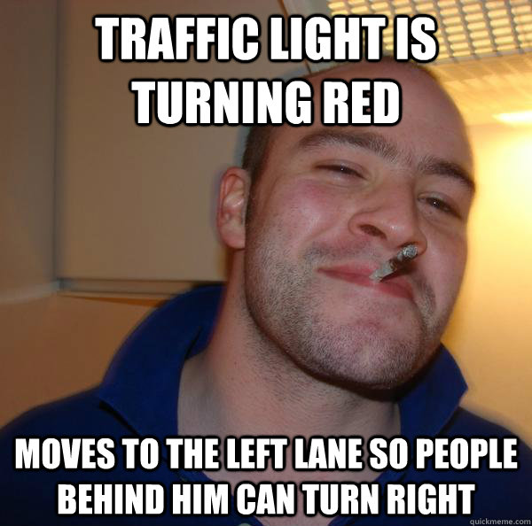 Traffic light is turning red Moves to the left lane so people behind him can turn right - Traffic light is turning red Moves to the left lane so people behind him can turn right  Misc