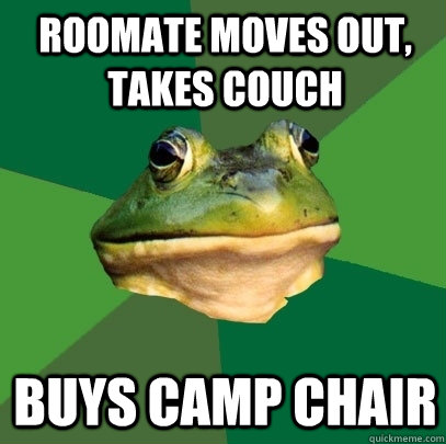 roomate moves out, takes couch buys camp chair - roomate moves out, takes couch buys camp chair  Foul Bachelor Frog