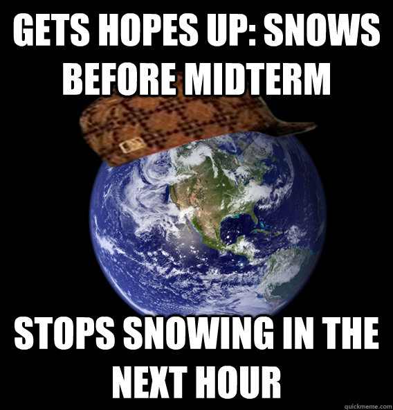Gets hopes up: Snows before MidTerm stops snowing in the next hour
