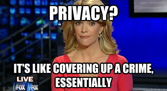 Privacy? It's like covering up a crime, essentially - Privacy? It's like covering up a crime, essentially  Essentially Megyn