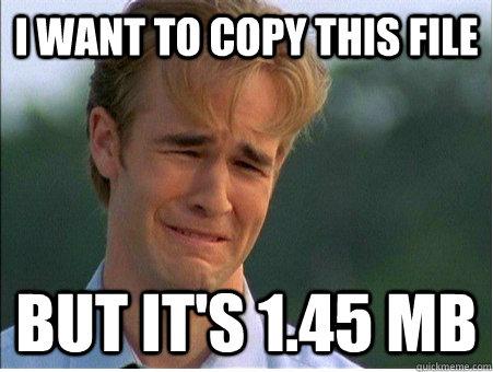 I want to copy this file But it's 1.45 Mb - I want to copy this file But it's 1.45 Mb  1990s Problems