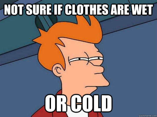 Not sure if clothes are wet Or cold - Not sure if clothes are wet Or cold  Futurama Fry