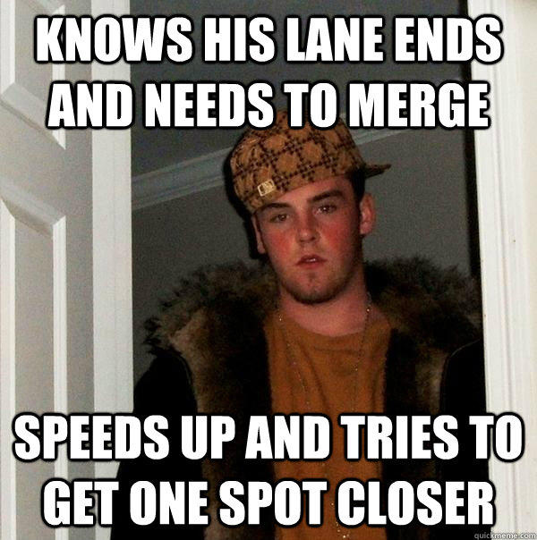 Knows his lane ends and needs to merge Speeds up and tries to get one spot closer