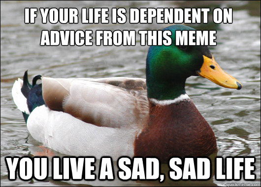 If your life is dependent on advice from this meme you live a sad, sad life - If your life is dependent on advice from this meme you live a sad, sad life  Actual Advice Mallard