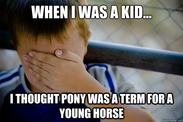 When I was a kid... I thought pony was a term for a young horse - When I was a kid... I thought pony was a term for a young horse  Misc