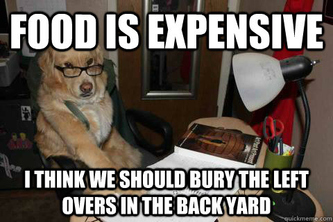 food is expensive I think we should bury the left overs in the back yard - food is expensive I think we should bury the left overs in the back yard  Financial Advice Dog