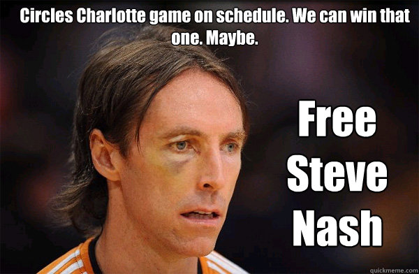 Circles Charlotte game on schedule. We can win that one. Maybe. Free Steve Nash