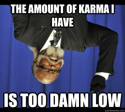 The amount of karma I have Is too damn low - The amount of karma I have Is too damn low  Misc