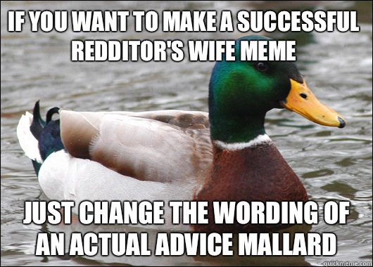 If you want to make a successful redditor's wife meme Just change the wording of an actual advice mallard - If you want to make a successful redditor's wife meme Just change the wording of an actual advice mallard  Actual Advice Mallard