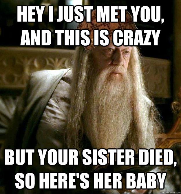 Hey I just met you, and this is crazy But your sister died, so here's her baby  Scumbag Dumbledore