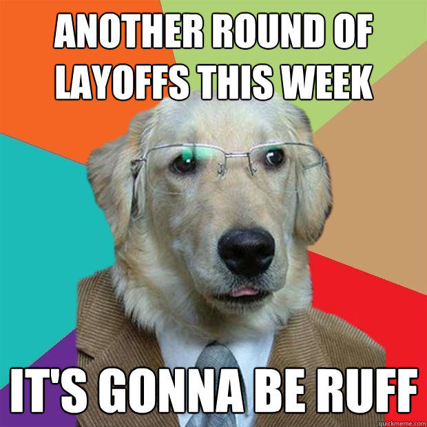 another round of layoffs this week it's gonna be ruff - another round of layoffs this week it's gonna be ruff  Business Dog