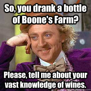 So, you drank a bottle of Boone's Farm? Please, tell me about your vast knowledge of wines.  Condescending Wonka