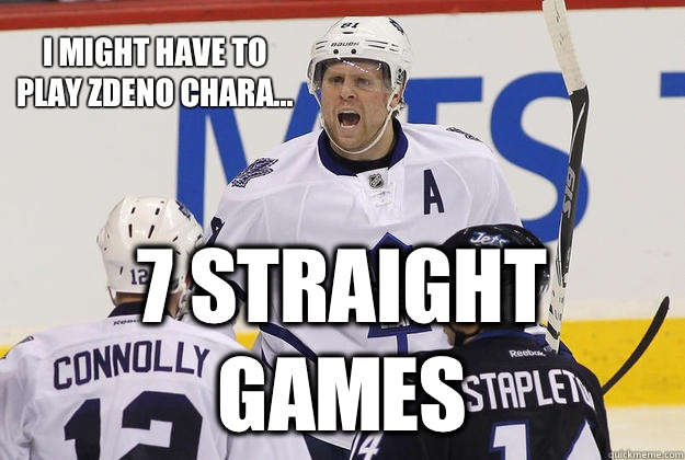 I might have to play Zdeno Chara... 7 straight games