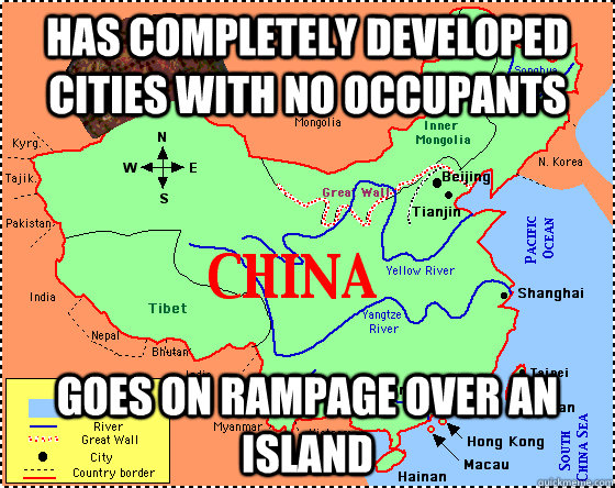 Has completely developed cities with no occupants Goes on rampage over an island
