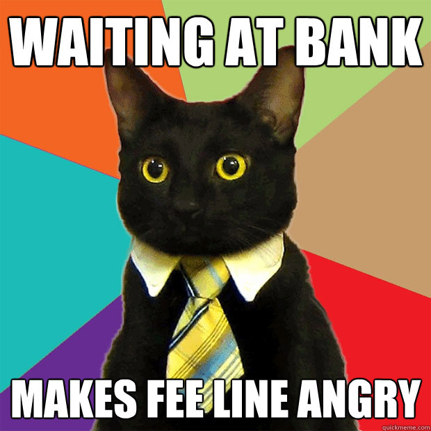 Waiting at bank makes fee line angry - Waiting at bank makes fee line angry  Business Cat