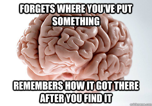 FORGETS WHERE YOU'VE PUT SOMETHING REMEMBERS HOW IT GOT THERE AFTER YOU FIND IT  - FORGETS WHERE YOU'VE PUT SOMETHING REMEMBERS HOW IT GOT THERE AFTER YOU FIND IT   Scumbag Brain