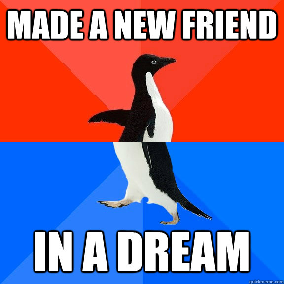 made a new friend in a dream - made a new friend in a dream  Socially Awesome Awkward Penguin