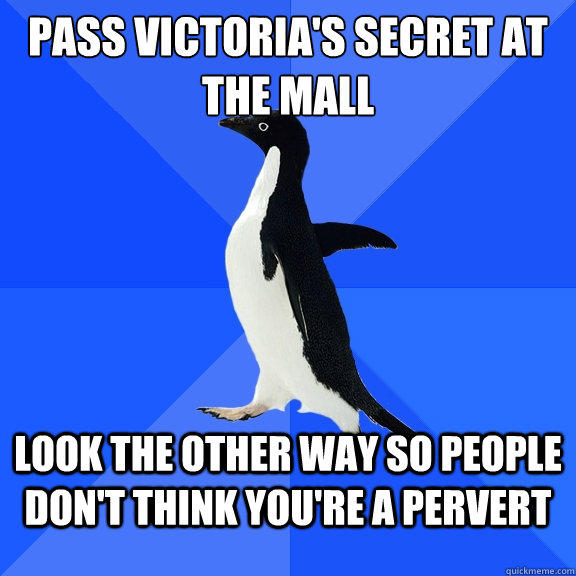 Pass Victoria's Secret at the mall look the other way so people don't think you're a pervert - Pass Victoria's Secret at the mall look the other way so people don't think you're a pervert  Socially Awkward Penguin