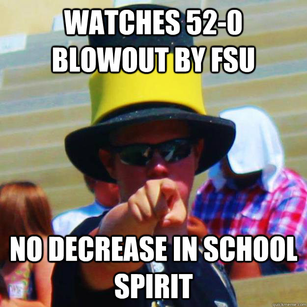 Watches 52-0 blowout by FSU No decrease in school spirit
